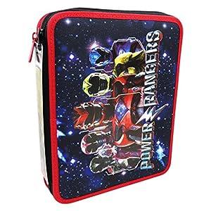 Seven Power Rangers Energy Estuche Maxi Escolar con Dos Cremalleras Làpices de colores