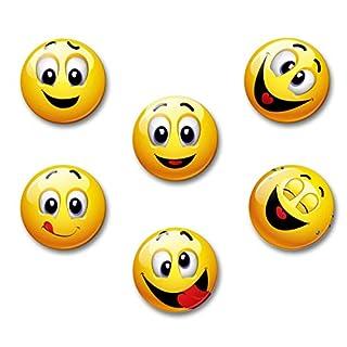 Merchandise for Fans Smiley gute Laune lachend - 6 große Kühlschrankmagnete Ø 5,0cm | 01