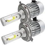 MTK 2x LED H4 Faros Delanteros de 72w / 7600Lm en total, de luz Blanca 6000K (High / Low Beam) para Coches y Motos (H4)