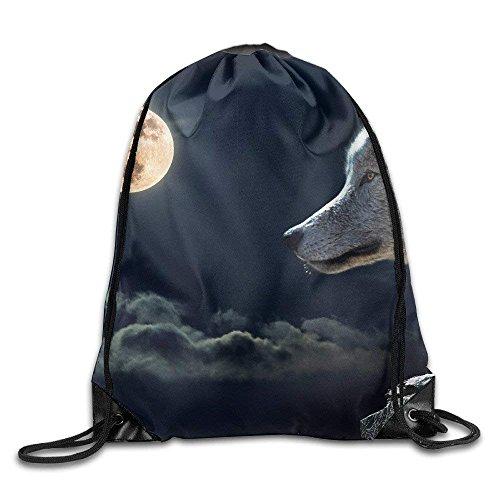 Dhrenvn Wolf-Torque-Wolf-Moon-Cloud Print Cute Smiling Face Soft Casual Daypacks Emoji School Book Bags Backpack Drawstring Backpacks for Traveling Or Shopping Casual Daypacks School Bags