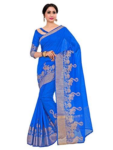 Kupinda kanjivaram Style Art Silk saree Color:Blue (4199-2196-SD-RBLU)