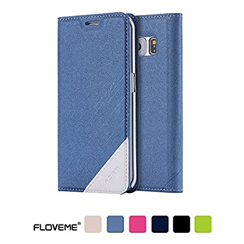 Coque Samsung Galaxy S6 Edge FLOVEME Housse en Cuir PU Prémium [Béquille] Étui avec Carte Slots et Fermeture Magnétique pour Samsung Galaxy S6 Edge - Bleu