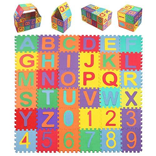 StillCool Puzzle Tapis Mousse Bébé, 36 Pièces, Tapis de Jeu Très Résistant pour Enfants, Alphabets & Chiffres (15cm...