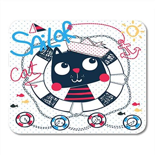 AOCCK Gaming Mauspads Cute Cartoon Cat Wearing Sailor Hat in Life Buoy 11.8