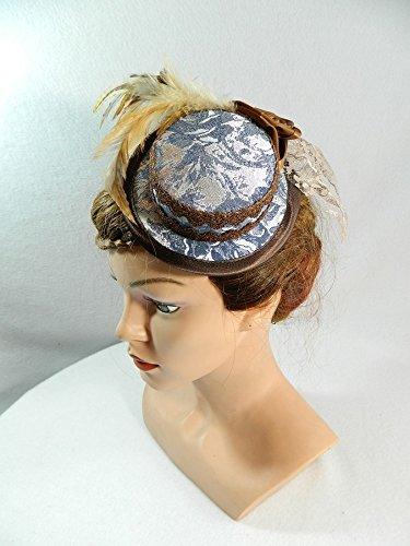 Mini Sommerhut braun blau Schleier Brauthut Damenhut Steampunk Braut Wedding Hat Bibi Chapeau