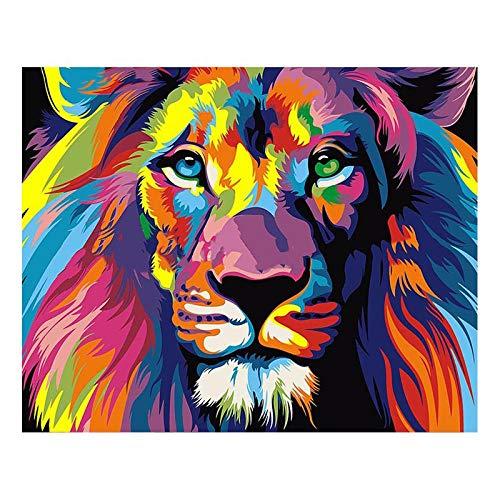 CJGD DIY Gemalt Lion King Afrikanische Kunst Tier 5D Diamant Malerei Kits Bohren Voll, Strass Kristall Stickerei Bilder Kreuzstich Für Hauptwanddekoration, 25 * 30 cm