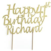 Happy Birthday All Ages Birthday Cake Topper Party Decoration. Personalised with Custom Name and Age. 41st Birthday. Any Glitter Colour Cake Decoration.