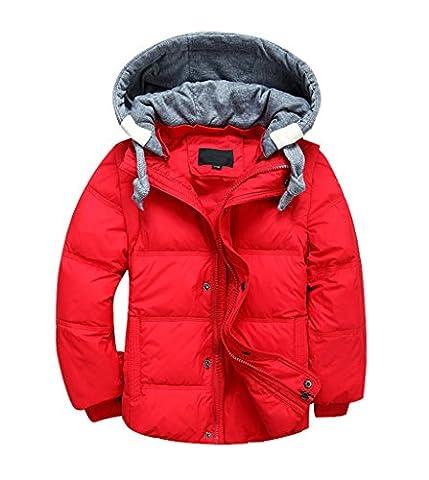 YoungSoul Kinder Daunenjacken Winterjacke mit abnehmbarer Kapuze für Jungen Mädchen Kinderweste Daunenweste warm Herbstjacken Wintermantel Rot 3-4T/Körpergröße