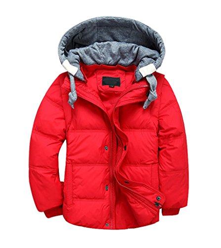 YoungSoul Kinder Daunenjacken Winterjacke mit abnehmbarer Kapuze für Jungen Mädchen Kinderweste Daunenweste warm Herbstjacken Wintermantel Rot 10-11T/Körpergröße 140-150cm