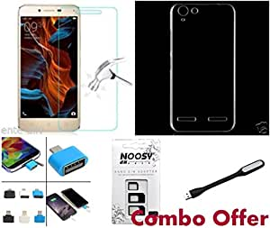 Lenovo Vibe K5 case and glass- combo of soft silicon transperent Back Case Cover, cellwallPRO BRAND tempered glass with Mini USB OTG ,Sim adapter kit and USB light