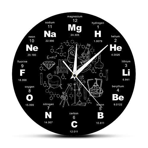 FUFUCHEN Chemische Symbole Wanduhr Chemische Elemente Periodische Tabelle Uhr Biologie Wand Kunst Neuheit Uhr Uhr Wissenschaft Lehrer Geschenk (Chemische Tabelle)
