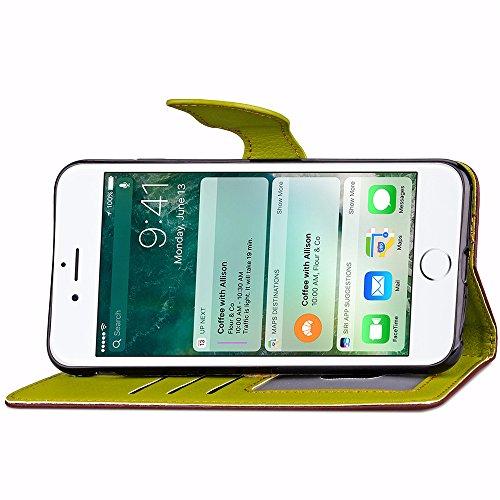 UKDANDANWEI Apple iPhone 7 étui,Les feuilles de texture Pu Leather Case avec Dragonne Corde Flip Wallet Protective Case Cover avec Fonction Stand et Fentes de Carte de Crédit Flexible Souple Tpu Coque Brun