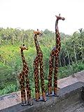 40cm Grande Girafe en Bois Afrique Bali Sculpte artisanal