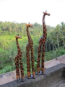 100cm Grande Girafe en Bois Afrique Bali Sculpte artisanal