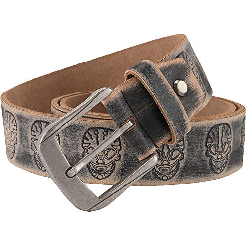 Men's Belt/Skull Embossed Belt/Retro Stitch Fashion Belt