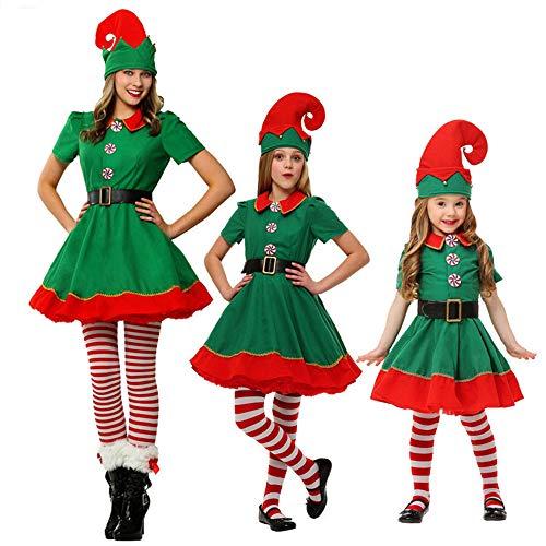 JF Erwachsene Kinder Kalifornien Weihnachtskostüme Santa Elf Kleid -