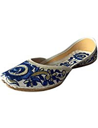 Step n Style Mujer Piel Khussa Flat Zapatos, color multicolor, talla 40