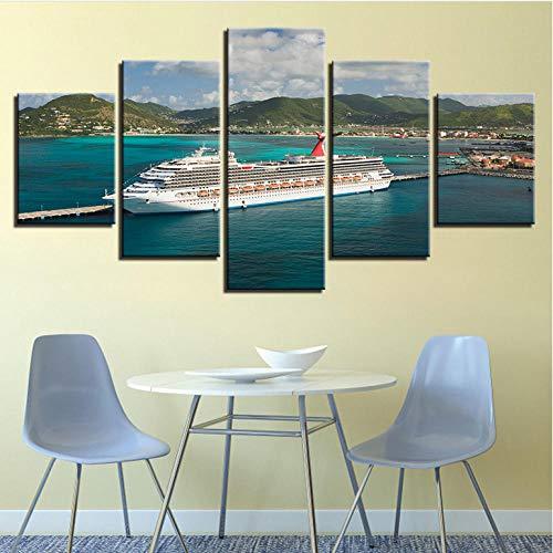 hdmfl Leinwand Wandkunst HD drucken modulares Bild 5 Stück große Kreuzfahrtschiff seelandschaft Malerei Wohnzimmer dekorativen Rahmen -
