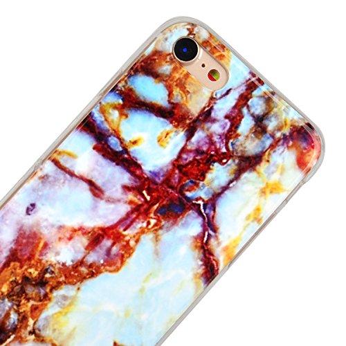 """GrandEver Coque iPhone 7 4.7"""" Marbre en Blanc Silicone Gel TPU Rigide Vintage Design Souple Étui Housse Protecteur de Protection Case Anti-Choc Anti-Rayures Marble HousseiPhone 7 Brun"""