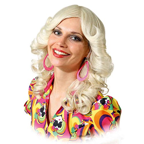 Amakando Damenperücke Föhnwelle - blond - Langhaarperücke Disco Karnevalsperücke Glamour Girl Schlager Faschingsperücke Föhnfrisur Siebziger Frauenperücke 70er Jahre Perücke