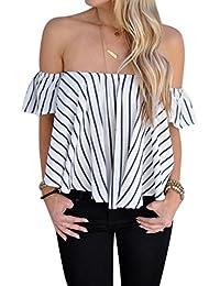 OverDose las mujeres fuera de la raya del hombro remata la camisa de la  blusa ocasional f8d621f42f5
