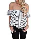 OverDose las mujeres fuera de la raya del hombro remata la camisa de la blusa ocasional (S, Blanco)