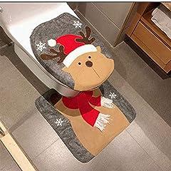 Idea Regalo - HESHIFENG. party & accessories Decorazioni di Natale Babbo Natale, pupazzo di neve, Cervo coperchio rivestimento e tappeto bagno Set WC Sedile WC con absenkautomatik gioielli di Natale Deer