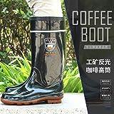 Top Shishang Männer Hohe Röhre Sehnenboden Bergbau Reflektierende Schuhe Wasser SchuheRutschfeste Stiefel, schwarz, 42