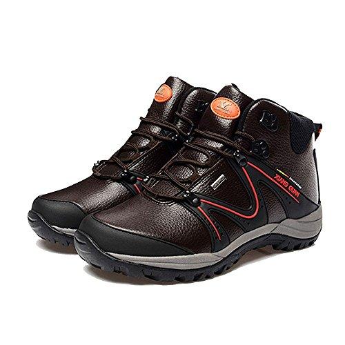Xiang Guan Homme High-top Cuir Imperméable Bottes Chaussures de Camping Randonnée Trekking Walking Outdoor Footwear Café