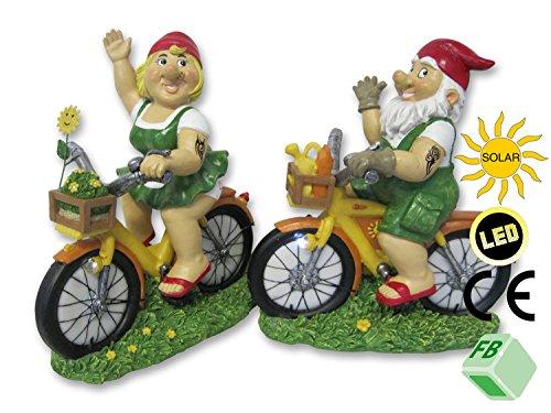 2er Set Gartenzwerge auf Fahrrad mit LED Solarlicht! 'Paul & Paula', aus Steinharz gefertigt, Garten Zwerge Gartendekoration