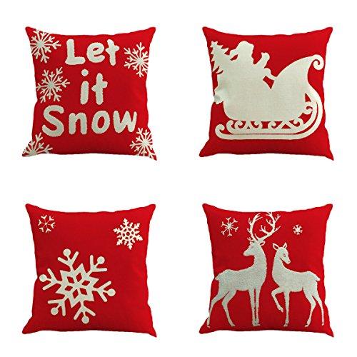 Unimall Weihnachtsdeko Kissenhülle 45 x 45 cm Kissenbezug 4 Stück mit schönem Weihnachten Muster (Nikolaus, Schneeflocken, Elch, Rot