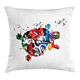 KAKICSA Colorful Throw Pillow Cushion Cover, Abstract Turtle with Hummingbirds and Musical Notes Fantastic Digital Illus