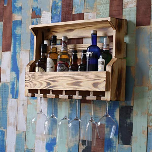 Weinregal Vintage American Massivholz Weinglashalter Kreative Bar Home Wanddekoration Rahmen. (Farbe: B, Größe: 74 * 13 * 42 cm)