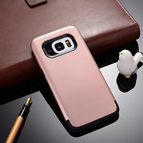 YHUISEN Galaxy S7 Edge Case, 2 In 1 PC + TPU Dual Layer Armor Hybrid Schutz Schock Absorption Hard Back Cover Case für Samsung Galaxy S7 Edge ( Color : Navy Blue ) Rose Gold