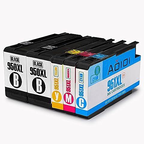 Aoioi Reemplazo para HP 950XL 951XL (2 Negro, 1 Cian, 1 Magenta, 1 Amarillo) Cartuchos de tinta, paquete combinado Compatible con HP Officejet Pro 8620 8600 Plus 8610 8100 276dw 8615 8630 251dw Impresora