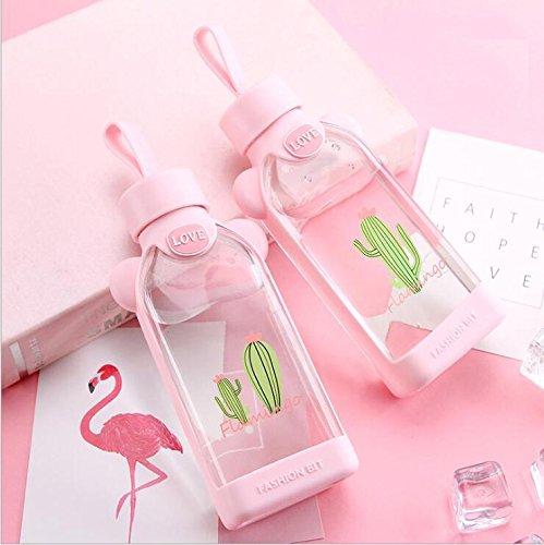 Trinkflasche aus Glas Glastrinkflasche mit Hülle Flache Wasserflasche für Kinder Student Schüler Mädchen Rosa Glasflasche BPA Frei Schönes Design Flamingos mit Schutzhülle für Büro Klassenzimmer 350ml