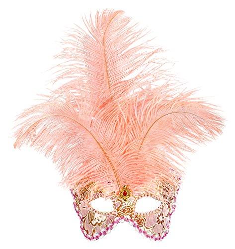 Widmann 1652-Maske Frau Apricot verziert, pink, (Baroness Halloween Kostüme)