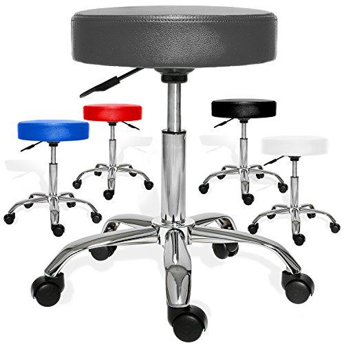 Kesser® PROFI Rollhocker höhenverstellbar und drehbar - Arbeitshocker, Drehhocker, Praxishocker für Ärzte, Friseure, Tätowierer, Masseure, Therapeuten u.v.m. dicke Polsterung Stuhl Modell: Grau ohne Lehne