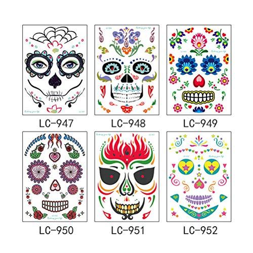 Lurrose 6pcs Halloween Gesicht Tattoo Aufkleber Totenkopf Spinne Tag der Toten wasserdicht temporäre Tattoos