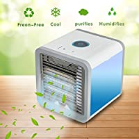 LYW Portable Air Cooler 3-in-1 Mini Personal Space Mobile Air Conditioners Humidifier Purifier 7 Colors LED Lights for Office Home Outdoor Travel Camping