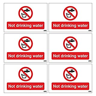 6 x Not Drinking Water safety signs for near sinks / taps. Set of 6 signs to warn do not drink the water, each sign is 75mm x 50mm (Pack of 6) (Self Adhesive Stickers)