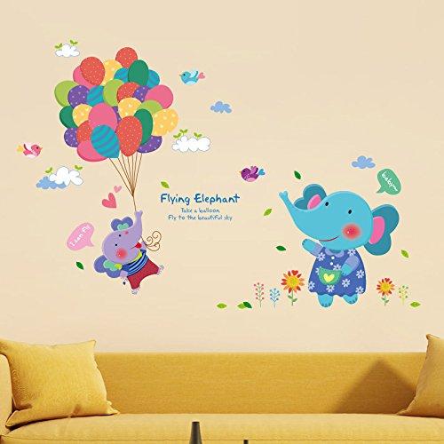 9680 Serie (Nettes Baby Elefant Ballon Wandaufkleber Abziehbilder Für Kinder Kinderzimmer Wohnzimmer Dekoration Wandbild Tapete Pvc-Aufkleber)