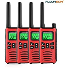 FLOUREON Walkie Talkies, 4PCS Audio bidireccional 16 Canales PMR 446MHZ con Alcance de hasta 5000