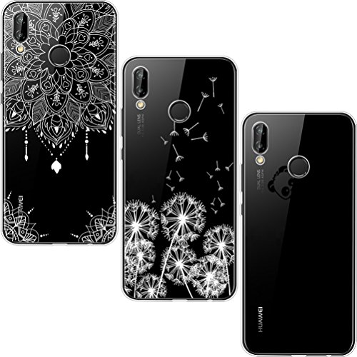 [3 Pack] Funda Huawei P20 Lite, Shumeifang Ultra Fina de Gel de Silicona TPU Carcasa con Dibujo Animado Lindo para Huawei P20 Lite - Diente de león y Panda y Mandala