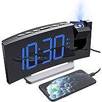 Mpow Réveil Projection, Radio Reveil Projecteur avec écran Incurvé à LED 5 '', Double Alarme et 5 Sons D'Alarme, gradateur de luminosité 0-100%, 4 luminosité de Projection, Snooze