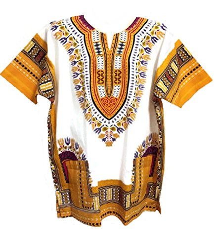 Dashiki Camicia da uomo africano Dashiki spiaggia Taglia L White and Yellow Taglia (Mens Dashiki)