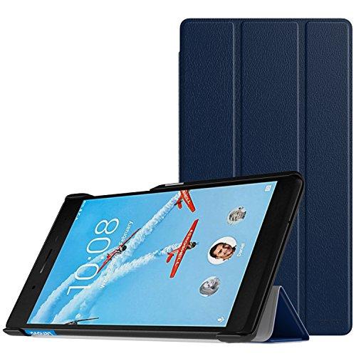 MoKo Lenovo Tab 7 Essential Hülle - Ultra Lightweight Slim PU Leder Tasche Schutzhülle Schale Smart Case mit Standfunktion für Lenovo Tab 7 Essential Tablet 2017, Marineblau