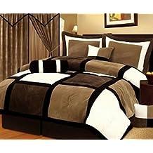 Legacy Decor 7-pieces Brown & Beige Micro Suede Patchwork Comforter