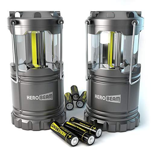 2 x HeroBeam® LED Laterne - COB Technologie mit 300 LUMEN! - AKKUS ENTHALTEN - Zusammenklappbare Campinglampe - Magnetunterlage - Großartig bei Camping, im Auto, Schuppen, Dachboden, Garage & Stromausfällen (DOPPELPACK)