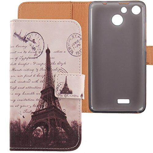Lankashi PU Flip Leder Tasche Hülle Case Cover Schutz Handy Etui Skin Für Archos 50b Cobalt / Archos 50f Helium / Archos 50f Helium Lite 5